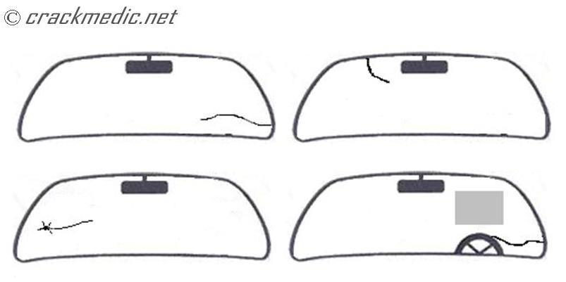 4 types of windshield cracks we can repair.